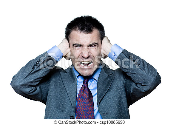 man hands covering ears annoyed by sound shouting - csp10085630