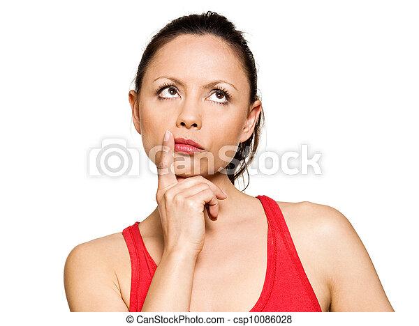 Portrait of expressive pensive cute woman pensive - csp10086028