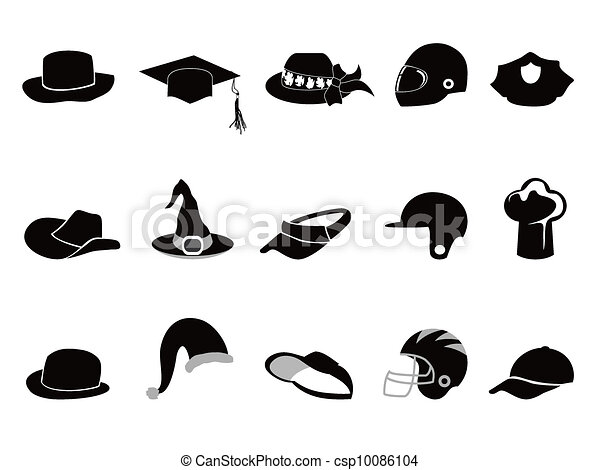 collection of various black hat Silhouettes - csp10086104