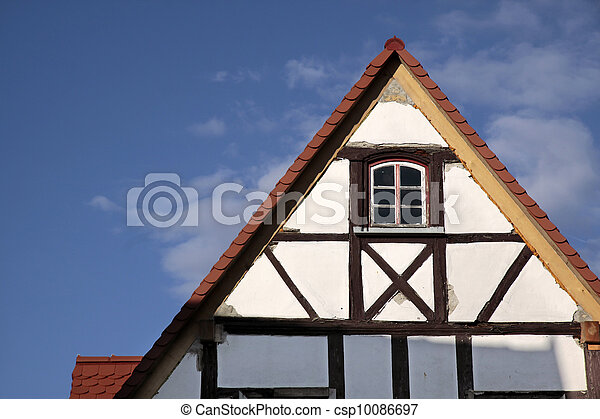 Gable of a half-timbered house - csp10086697