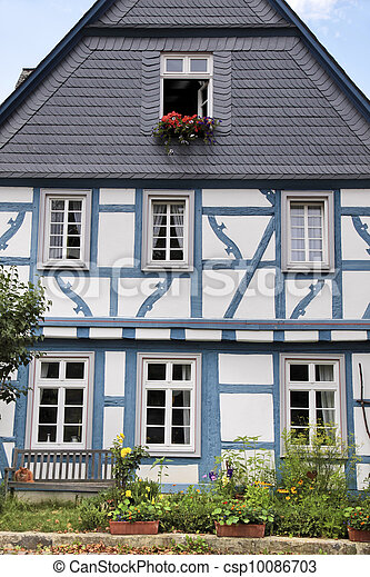 Blue half-timbered house - csp10086703