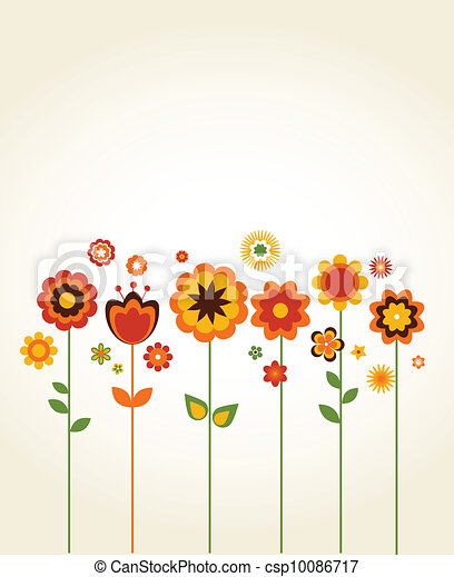 Vector Clip Art of Vector greeting card with cute flowers ...