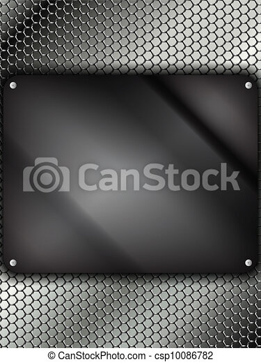 Glass Metal Silver Square - csp10086782