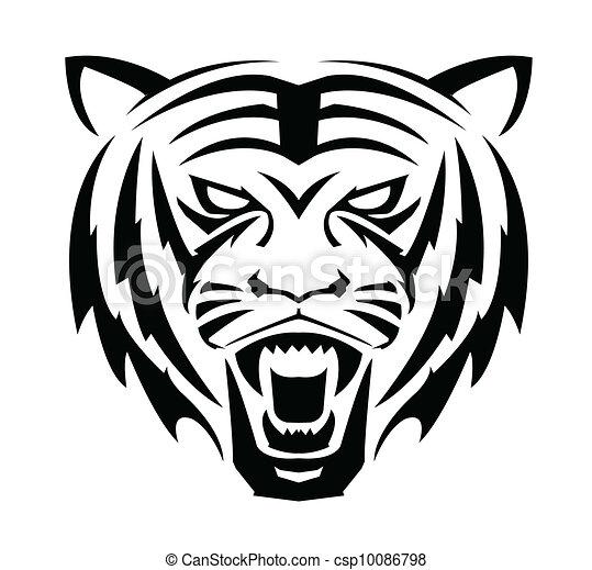 EPS vectores de tigre, cara, símbolo csp10086798 - Buscar Clipart ...