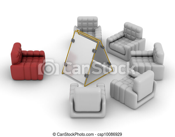 Interior of a living room. 3D image. - csp10086929