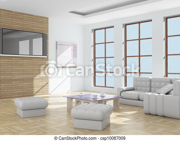 Interior of a living room. 3D image. - csp10087009