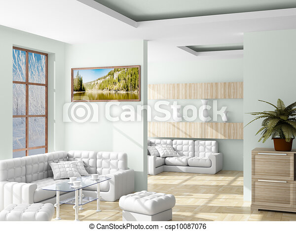 Interior of a living room. 3D image. - csp10087076