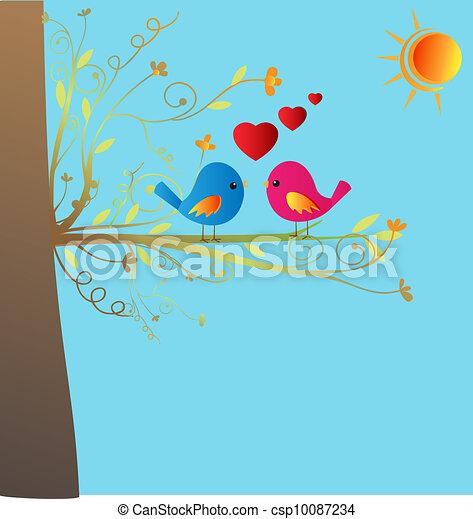 Birds in love vector stock - csp10087234