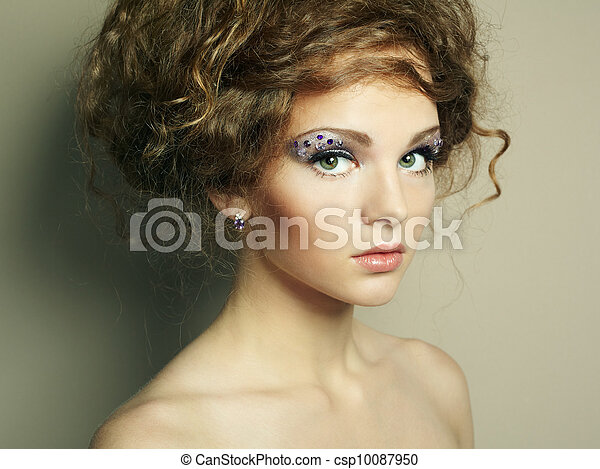 Portrait of beautiful  woman with elegant hairstyle - csp10087950