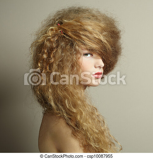 Portrait of beautiful  woman with elegant hairstyle - csp10087955