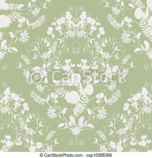Sweet pea silhouette seamless - csp10088396
