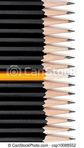 Yellow Pencil Standing Out - csp10088552