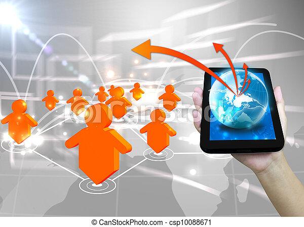 Businessman holding world .Technology social network concept  - csp10088671