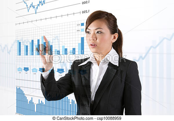 businesswoman looking at a finance chart - csp10088959