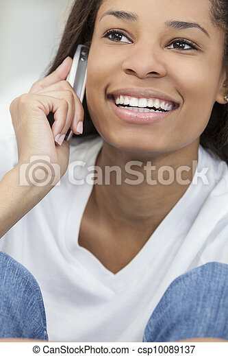 African American Woman Girl Talking on Cell Phone - csp10089137