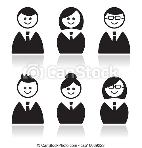 Business people icons set, avatars - csp10089223