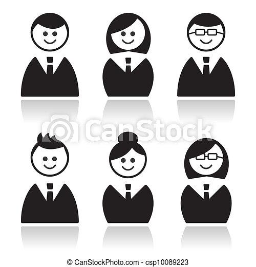 Business people icons set, avatars - csp10089223