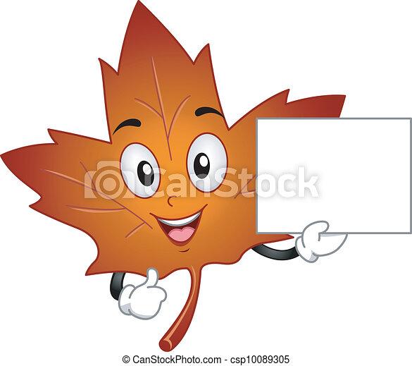 Clipart vecteur de feuille rable mascotte mascotte illustration csp10089305 - Feuille erable dessin ...