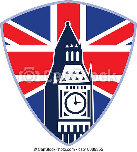 Big Ben London Clock Tower British Flag - csp10089355