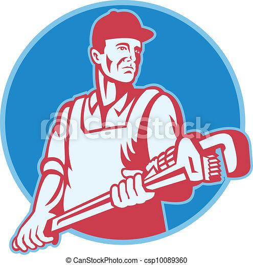 plumber Worker Monkey Wrench Retro - csp10089360