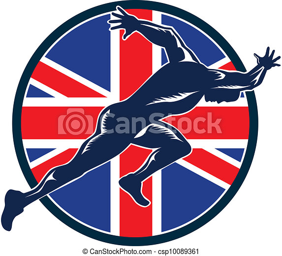 Runner Sprinter Start British Flag Circle - csp10089361