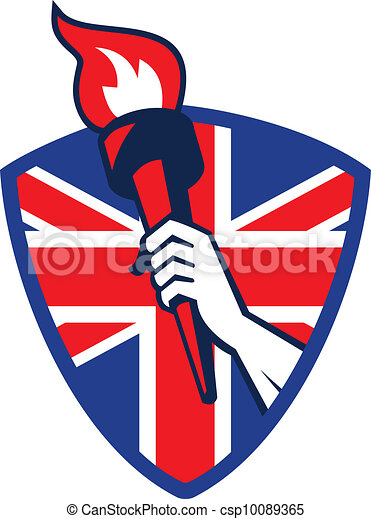 Hand Holding Flaming Torch British Flag - csp10089365