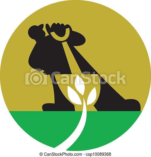Gardener Landscaper With Shovel Digging Plant - csp10089368