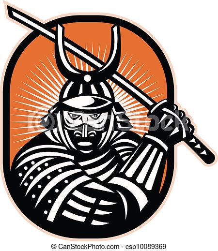 Clip Art de vectores de samurai, guerrero, Retro, espada ...