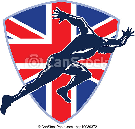 Runner Sprinter Start British Flag Shield - csp10089372