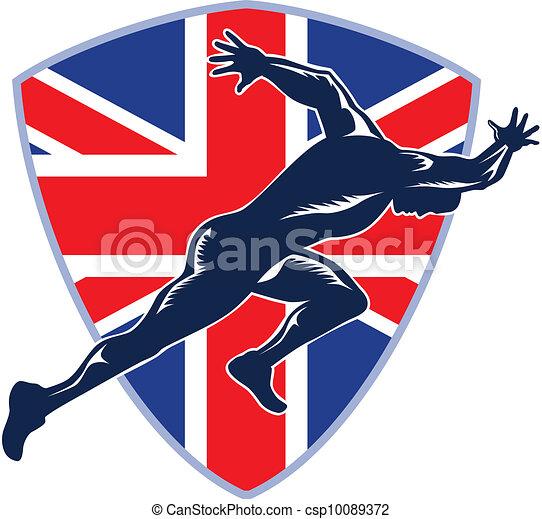 Runner Sprinter Start British Flag Shield - csp10089372