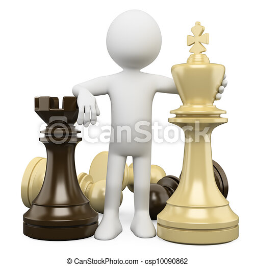 3D white people. Chess - csp10090862