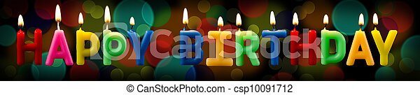 happy birthday candles with bokeh background - csp10091712