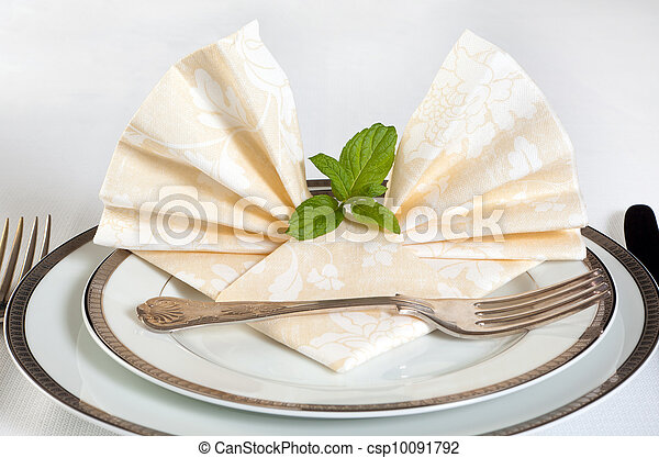 Festive table and napkins - csp10091792