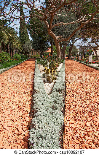 Ideally direct avenue  in Baha'i park in Israel - csp10092107