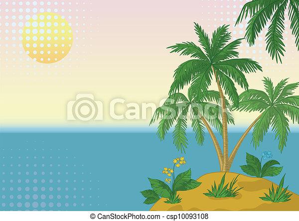 Island Flowers Drawings Island With Palm And Sun