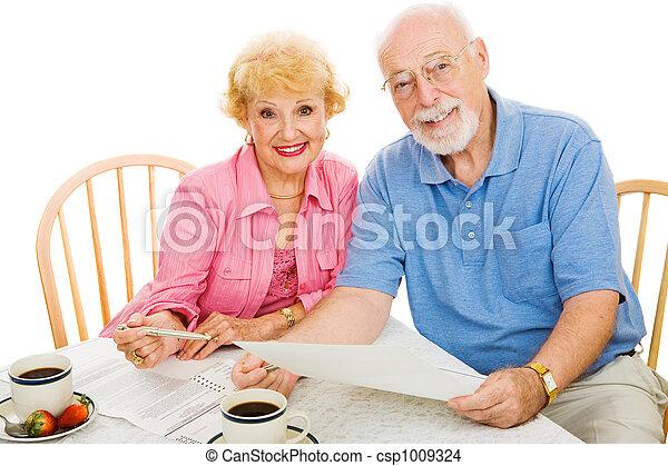 seniors, y,  -, balotas, votación,  absentee - csp1009324