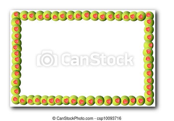 网球, 球, 一, 心, 框架, 白色, 背景, 地方, 你, 正文, 或者, 设计
