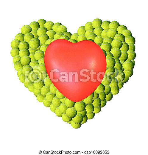 Heart on tennis balls background - csp10093853