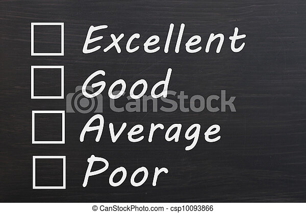 Customer survey or poll of four levels with check boxes on smudged blackboard background - csp10093866