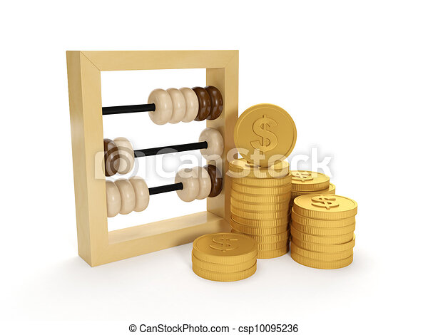 3d illustration: Accounting. The accounts and the group of money on a white background - csp10095236