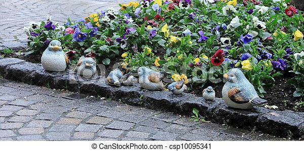 ceramics bird family - csp10095341