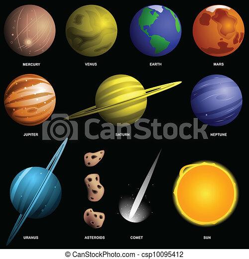 Vector Clip Art de scale), negro, aislado, planetas, (not ...