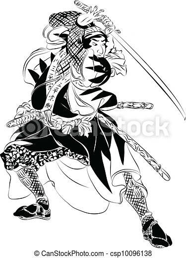 Samurai in Action illustration - csp10096138