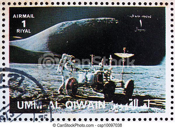affranchissement, vagabond, timbre,  1972,  al-quwain, astronaute, Lunaire,  umm - csp10097038
