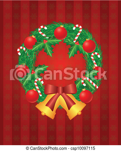Christmas Wreath with Ornaments Bells and Candy Cane Illustration - csp10097115
