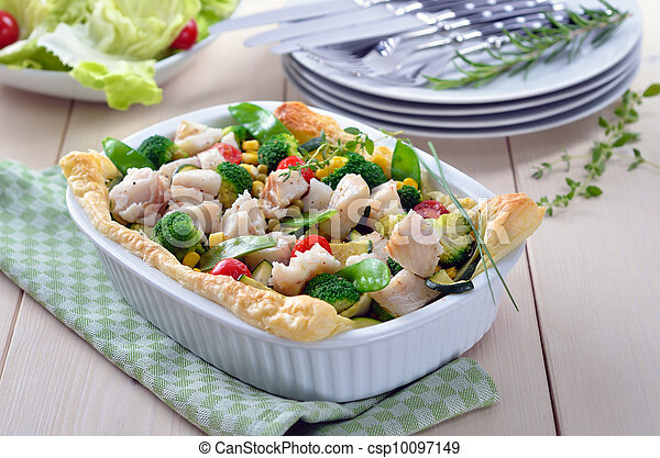 Fish fillet on vegetables - csp10097149