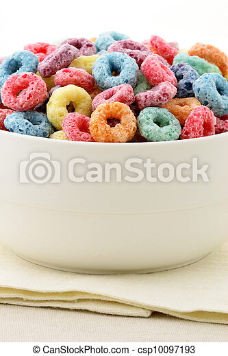 kids delicious and nutritious cereal loops or fruit cereal - csp10097193