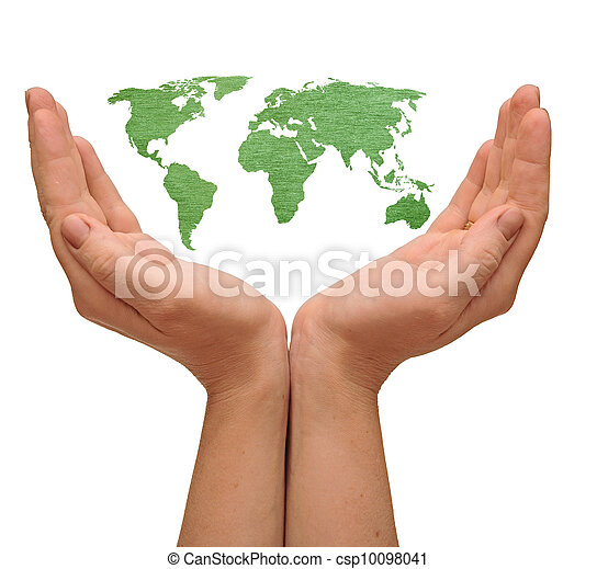 world map in woman hands isolated on white - csp10098041