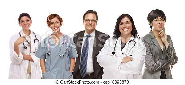Group of Medical and Business People on White - csp10098870