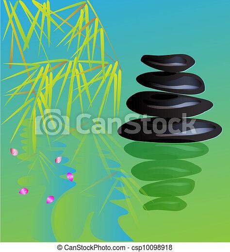 Zen stone yoga background vector - csp10098918